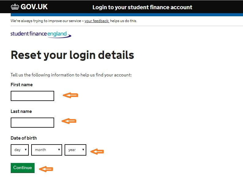 Student Finance login forgot password step 2