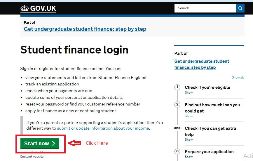 Student Finance login step 1