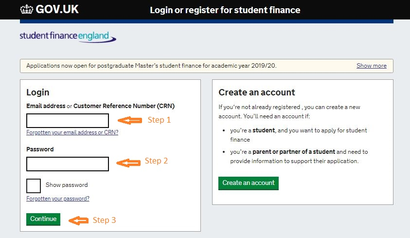 Student Finance login step 2