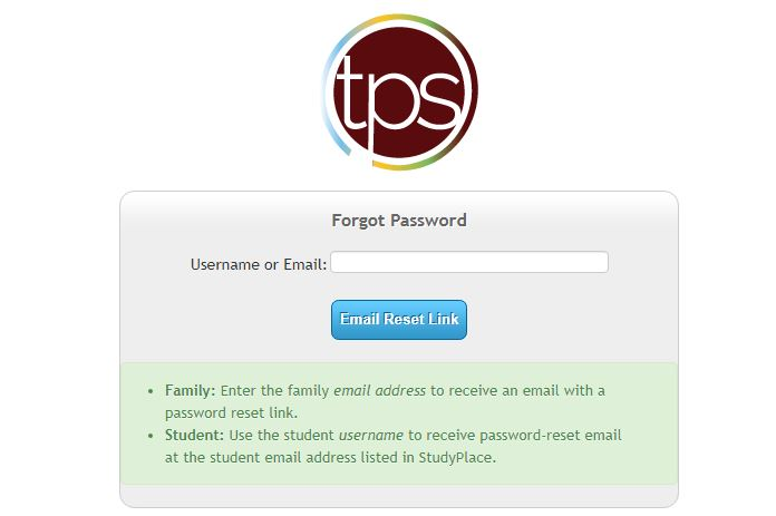 TPS Student Login forgot password step 1