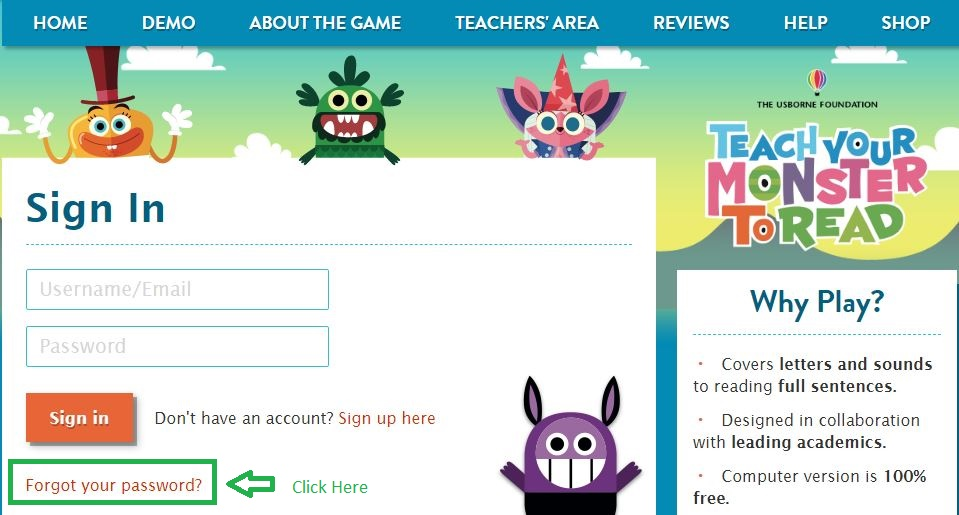 Teachyourmonstertoread Student login forgot password step 1