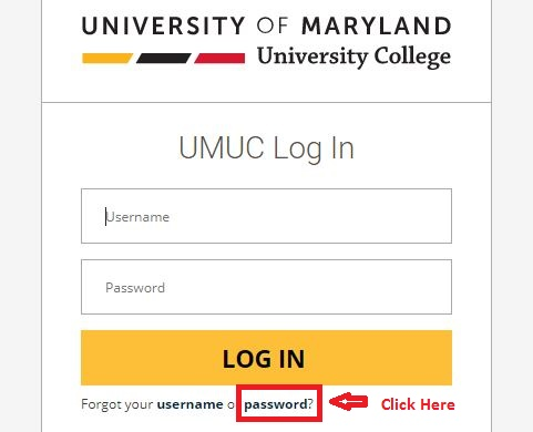 UMUC Student login forgot password step 1