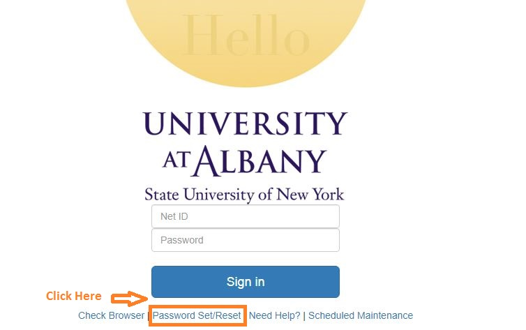 Ualbany Student Login forgot password step 1