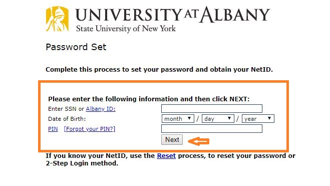 Ualbany Student Login forgot password step 2