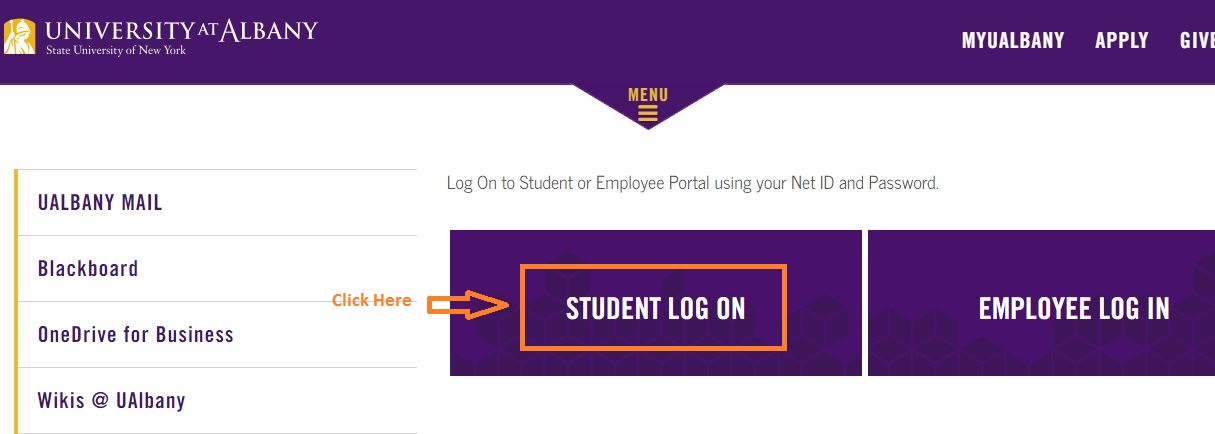 Ualbany Student Login step 1