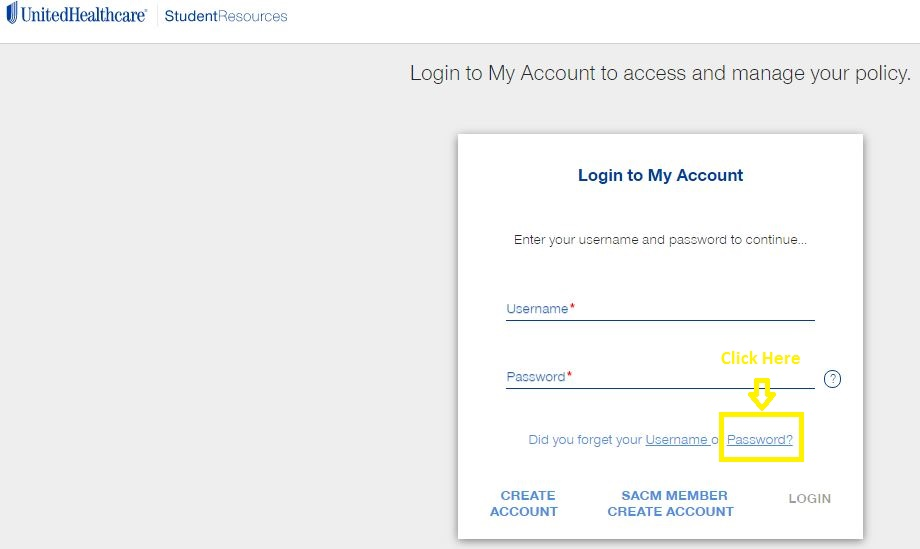 United Healthcare Student Portal login forgot password step 1