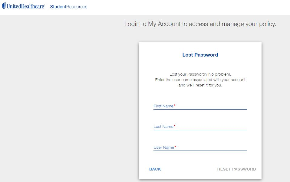 United Healthcare Student Portal login forgot password step 2