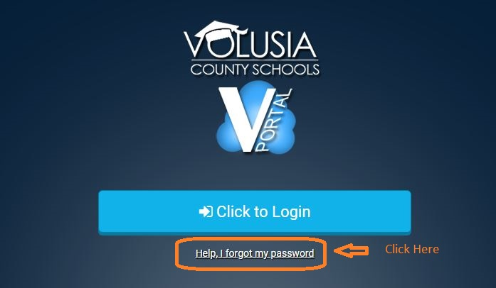Vportal Student Login forgot password step 1