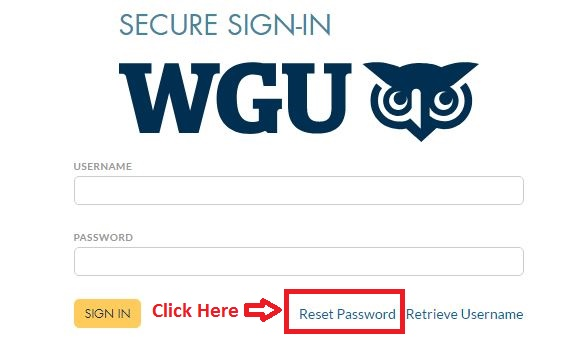 WGU Student login forgot password guide step 1