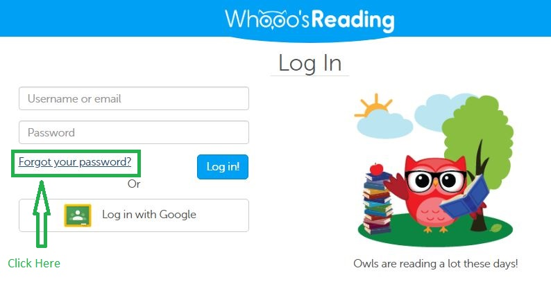Whooos Reading Student login forgot password step 1