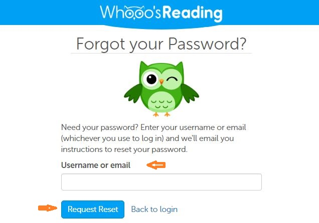 Whooos Reading Student login forgot password step 2