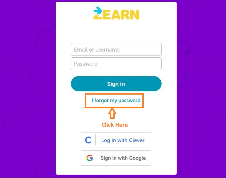 Zearn Student login forgot password step 1