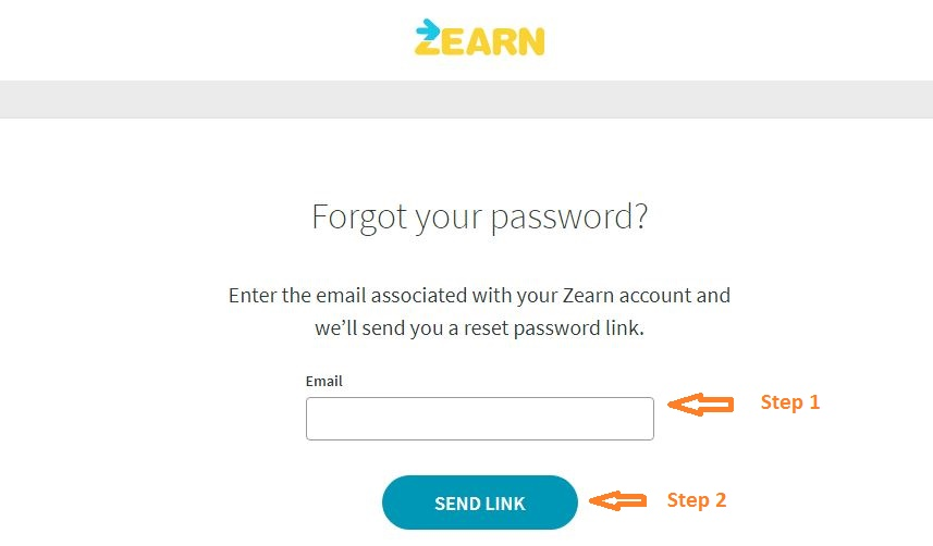 Zearn Student login forgot password step 2