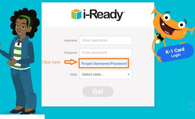 i-Ready Student login forgot password step 1
