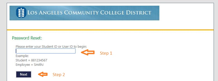 laccd Student login forgot password step 2