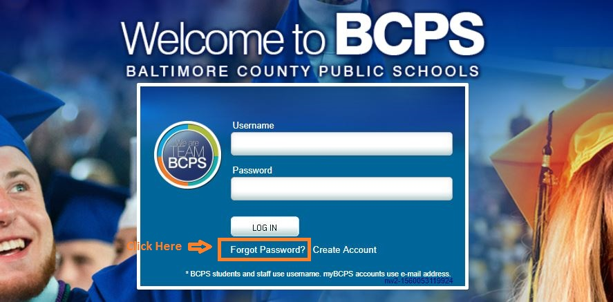 BCPS One Student Login forgot password Step 1