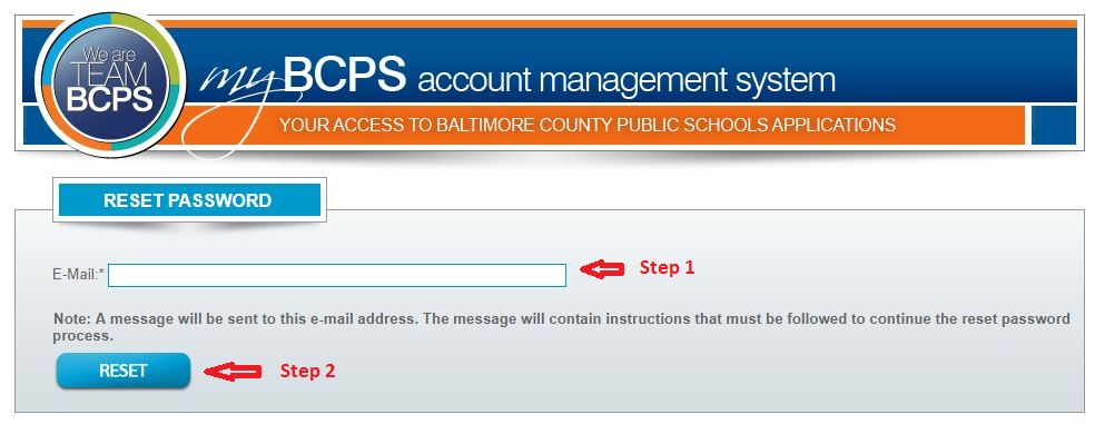 BCPS One Student Login forgot password Step 2