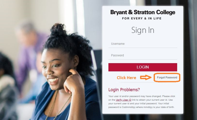 Bryant And Stratton Student Login forgot password step 1