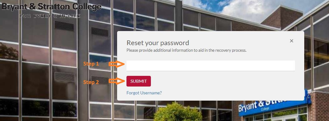 Bryant And Stratton Student Login forgot password step 2