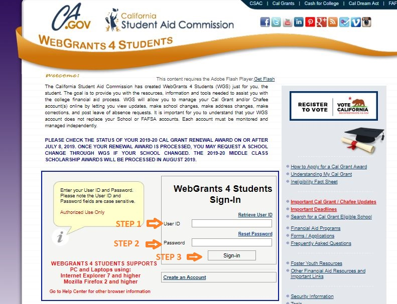 California Student Aid Commission Login Step 2
