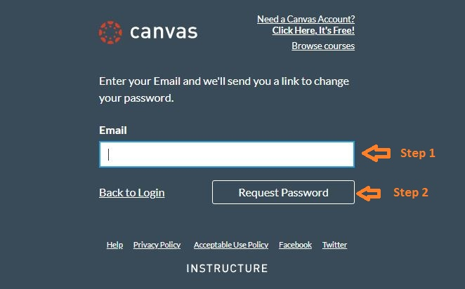 Canvas Login Student forgot password step 2