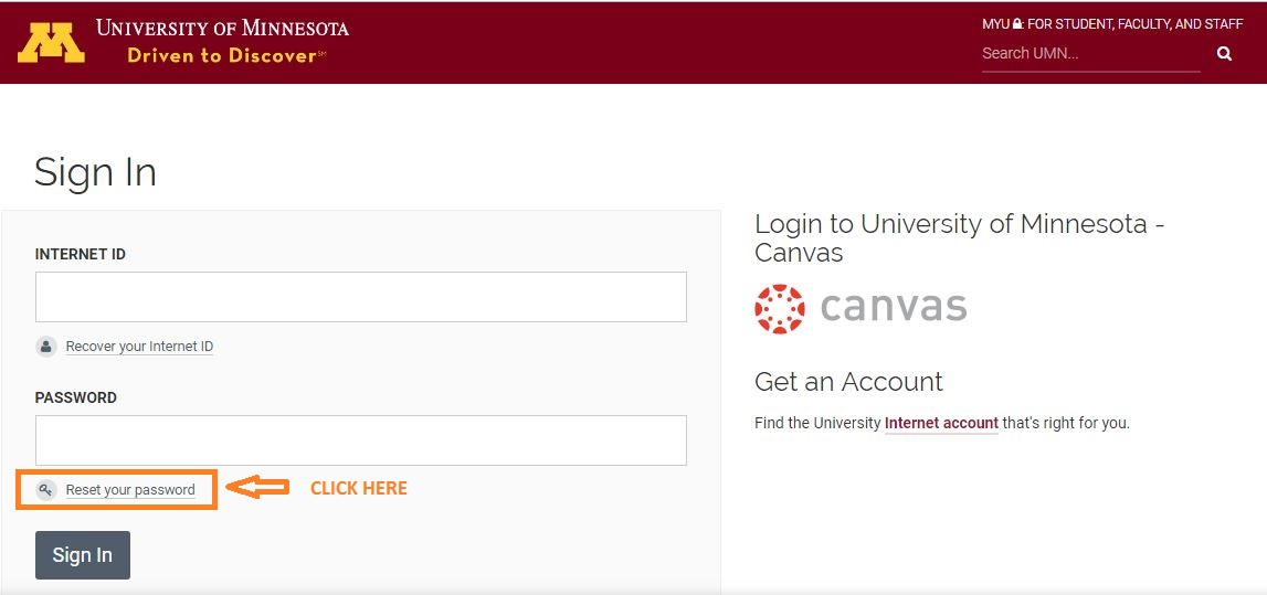 Canvas UMN Student Login forgot password step 1