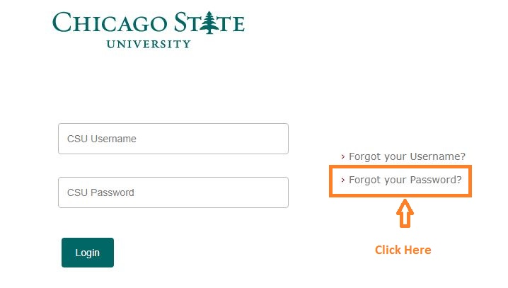 Chicago State University Student Login forgot password step 1