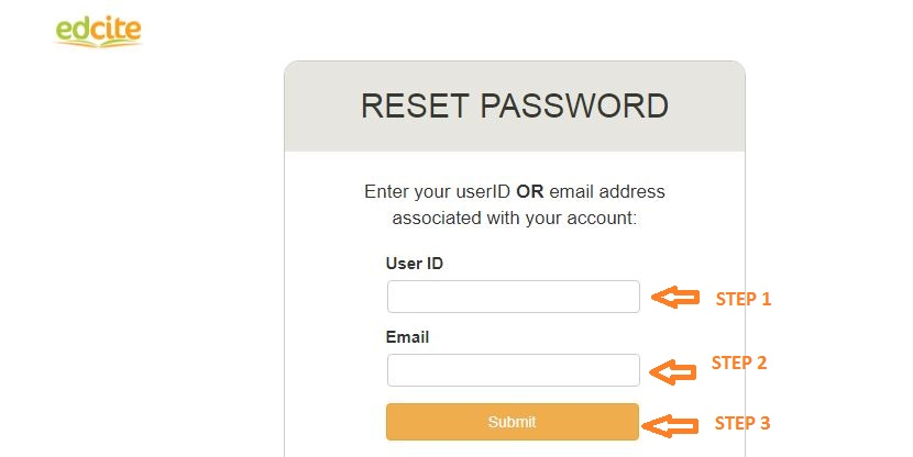 Edcite Student Login forgot password step 2