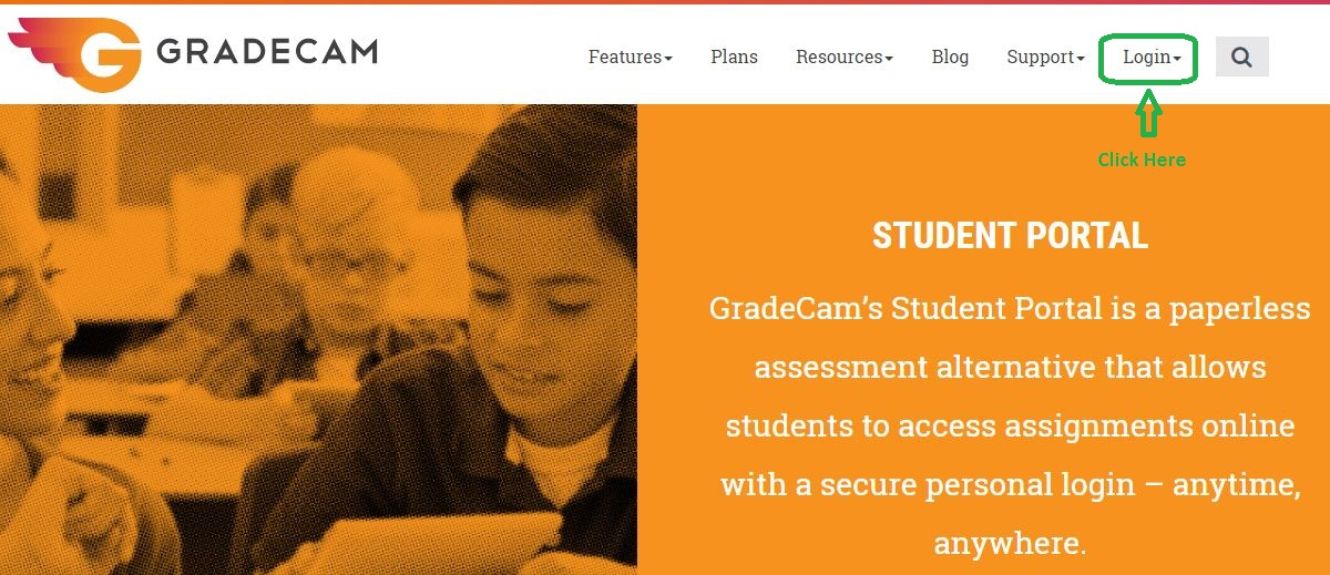 Gradecam Student Login step 1