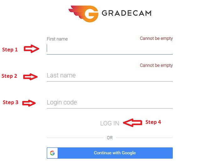 Gradecam Student Login step 3