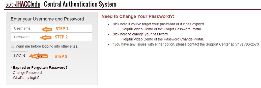 HACC Student Login Step 2