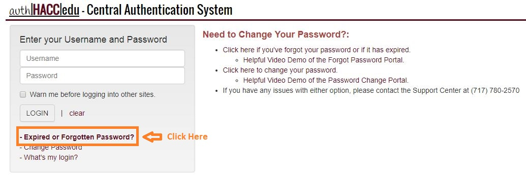 HACC Student Login forgot password step 1