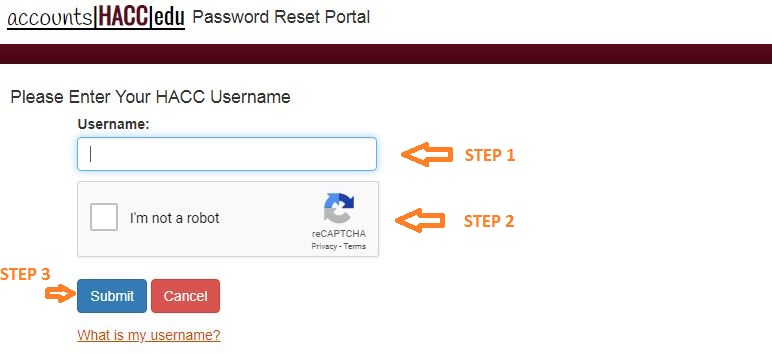 HACC Student Login forgot password step 2