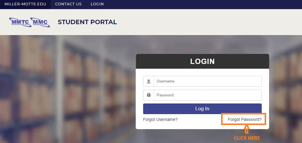 MMTC Student Login forgot password step 1