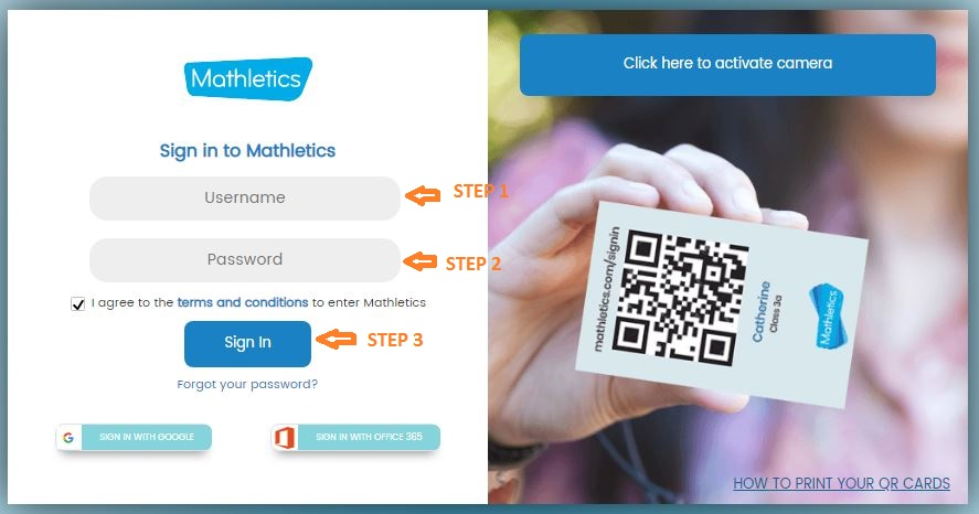 Mathletics Student Login Step 1