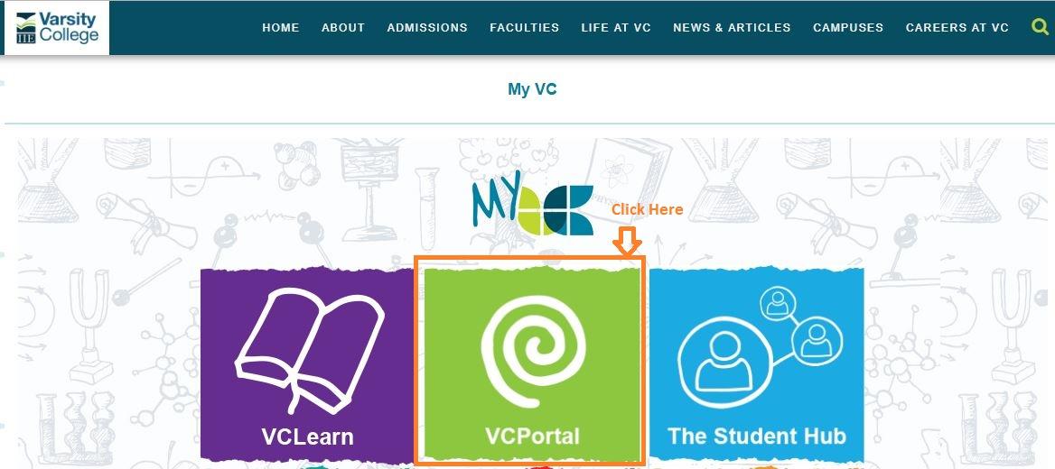 My VC Student Portal Login step 1
