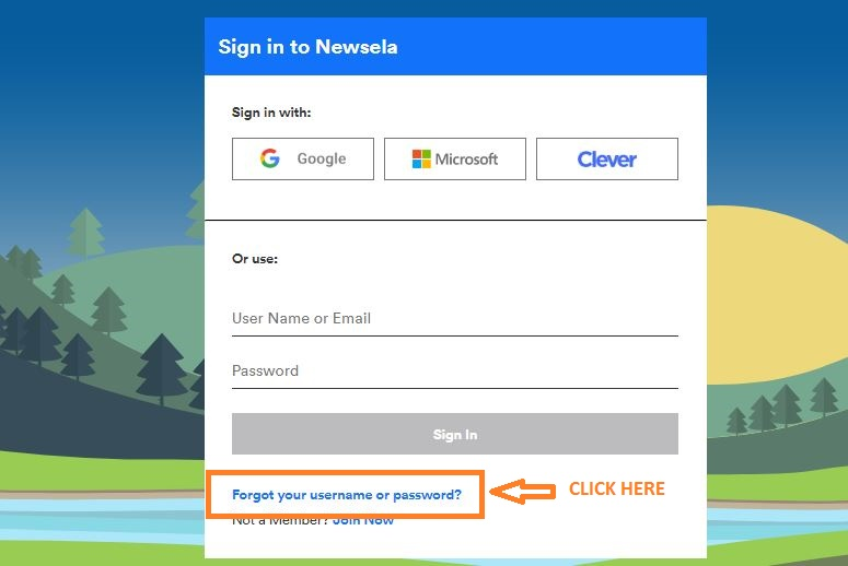 Newsela Student Login forgot password step 1