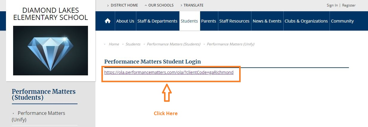Performance Matters Student Login at ola performancematters com
