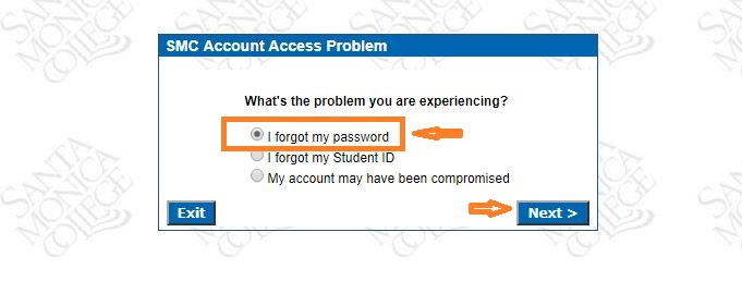 SMC Student Login forgot Password step 2