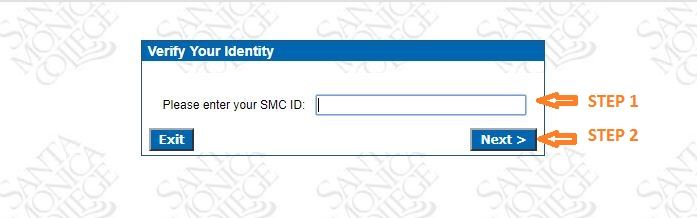 SMC Student Login forgot Password step 3