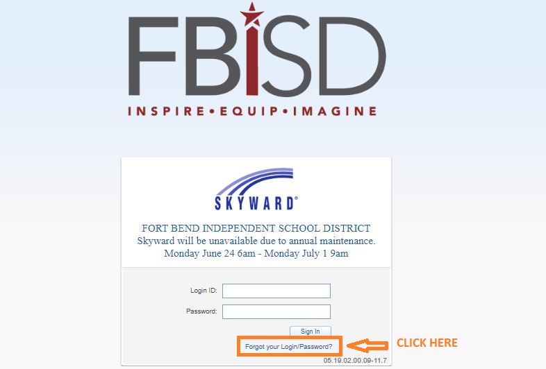 Skyward Fbisd Login forgot password step 1