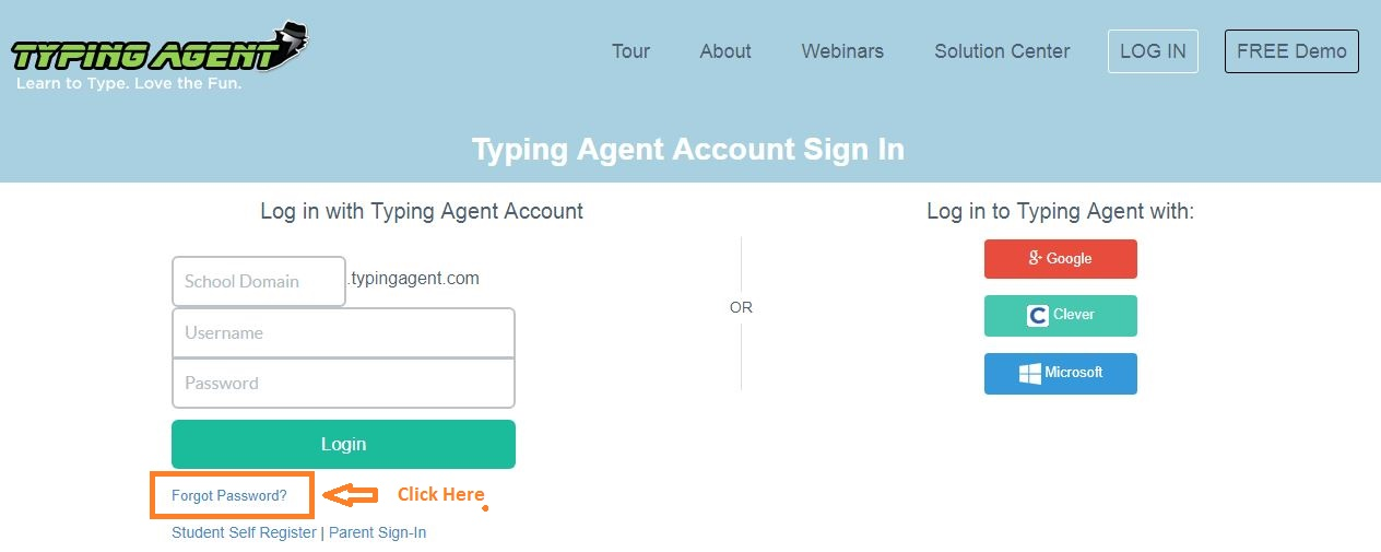 Typing Agent Student Login forgot password step 1