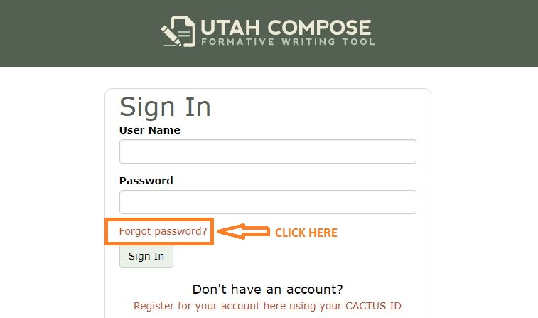 Utah Compose Student Login forgot password step 1
