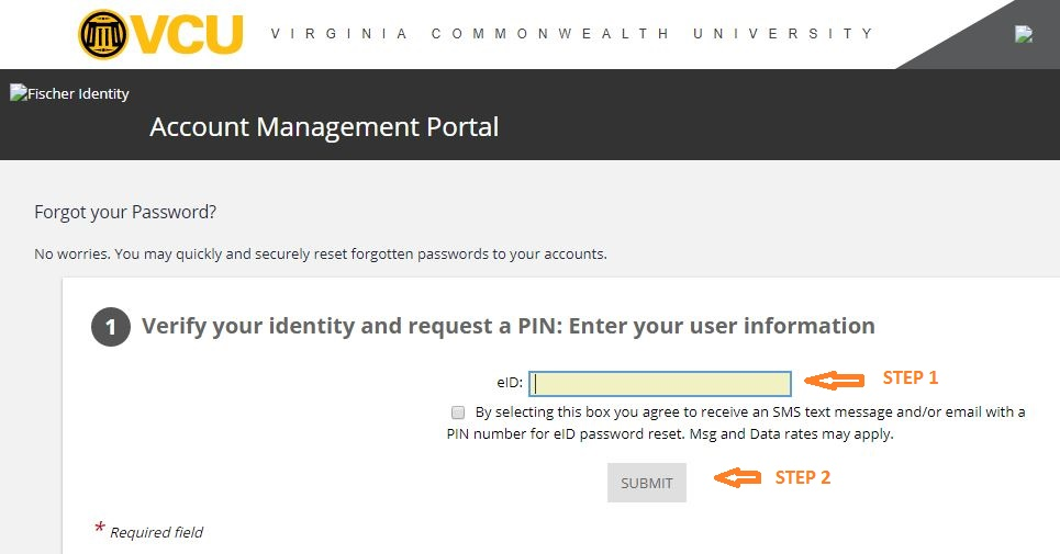 VCU Student Login forgot password step 2