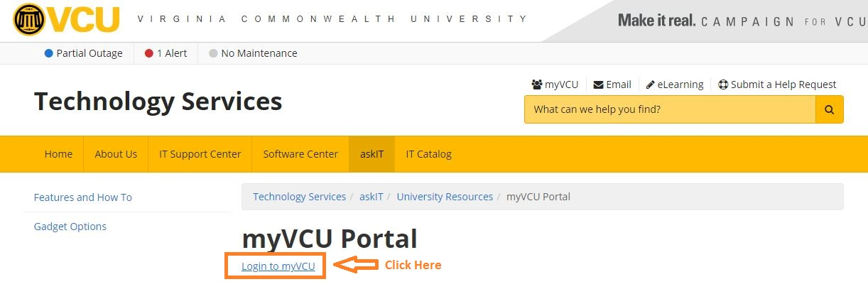 VCU Student Login step 1